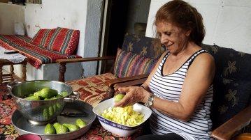Sister-in-law Nadia preparing koosa.